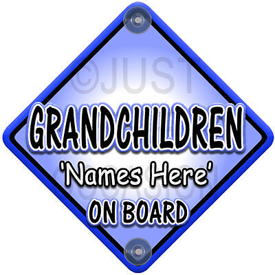 NEW Blue Personalised GRANDCHILDREN Baby on Board Car Window Sign