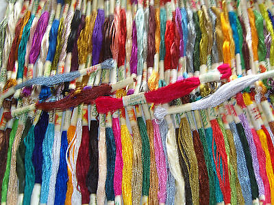 100 Art Silk/Rayon Stranded Skeins Embroidery Thread, Bargain Value