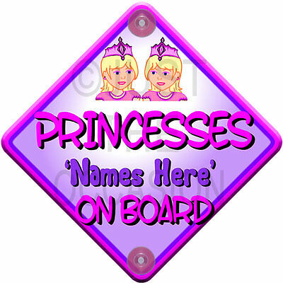 NEW Pink & Purple TINY PRINCESSES Baby on Board Car Window Sign