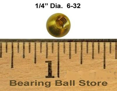 """25 - 1/4"""" threaded 6-32 brass balls drilled tapped"""