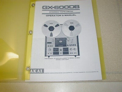 Akai Gx-600Db Reel To Reel  Operator's  Manual Free Same Day Shipping
