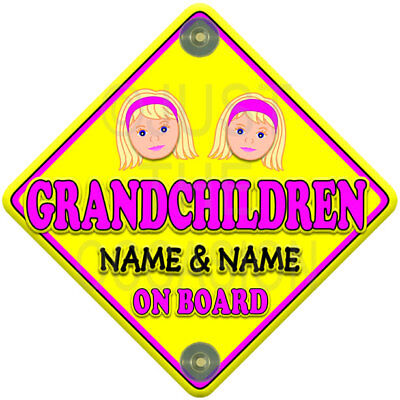 Personalised for up to 2 GIRLS CUTE FACE GRANDCHILDREN Baby on Board Car Sign