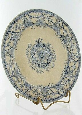 Antque Wh Grindley Blue Transfer Plate Troy Pattern 1883