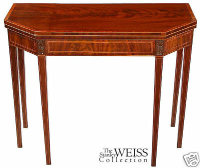SWC-Inlaid Hepplewhite Six-Leg Card Table, c.1800