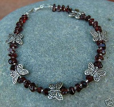 Garnet and Butterfly Anklet- Beautiful
