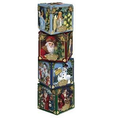 "4 Assorted Old World Christmas 14014 Cardboard Set Of Gift Boxes 4""x4""x4"""