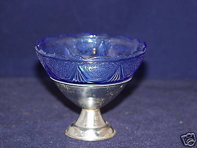 Cobalt Royal Lace Sherbet With Metal Holder