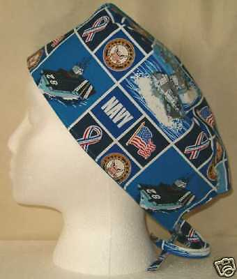 Surgical Scrub Hat Cap Made with US Navy Patriotic Militay Fabric USA Nurse ER