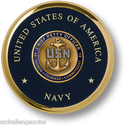 Navy Chief Petty Officer Brass Coaster Challenge Coin