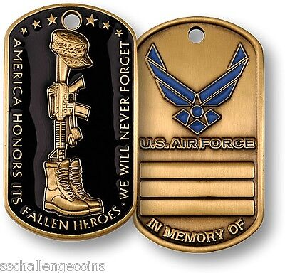 Fallen Heroes Air Force Dog Tag USAF In Memory of Coin