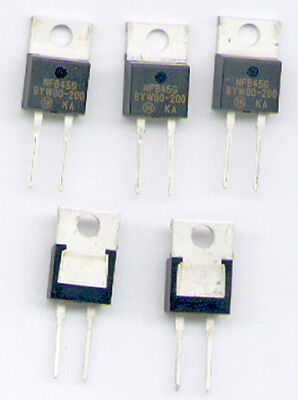 5 x BYW80-200  SCHNELLE DIODE  200V 10A  <35ns TO220 Fabrikat : ONS