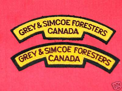 GREY & SIMCOE FORESTERS CANADA Cloth Shoulder Flashes