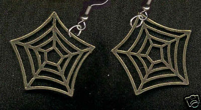 Funky SPIDERWEB EARRING Punk Witch Goth Costume Jewelry