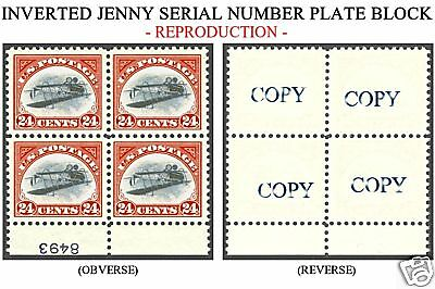 Inverted Jenny Serial Number Plate Block Reproduction