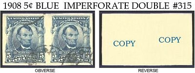 1908 Lincoln 5¢ Blue Double Reproduction # 315