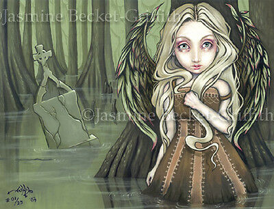 A Tomb in the Swamp gothic fairy angel art CANVAS PRINT