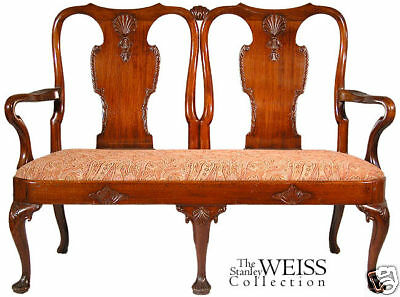 SWC-Carved Queen Anne Settee, England, 19th century