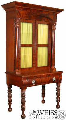 SWC-Carved Mahogany Classical Desk/Bookcase, NE, c.1830