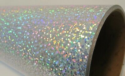 """Silver Holographic Glitter Sign Vinyl 12"""" x 30 ft"""