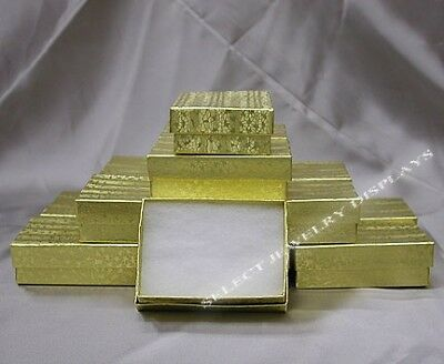 50 Gold Cotton Filled Jewelry Display Gift Boxes 3 x 2