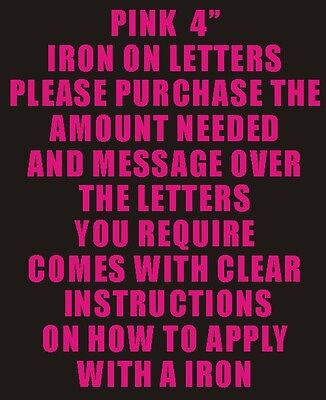 """10 4"""" Pink Iron On Letters & Numbers Transfer Printing"""