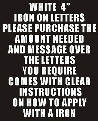 """Pack of 10 x 4"""" White Iron On Characters - Letters or Numbers Vinyl Printing"""