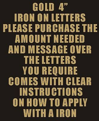 """Pack of 10 x 4"""" Gold Iron On Characters - Letters or Numbers Vinyl Printing"""