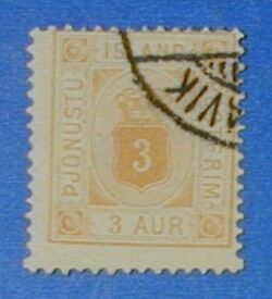 1882 ICELAND 3A OFFICIAL STAMP SCOTT# O4 MICHEL#3A USED