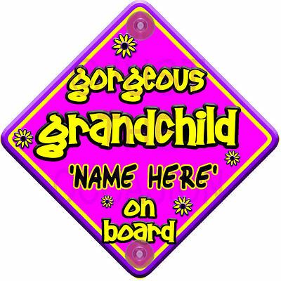 PERSONALISED FLORAL ~ Purple & Pink ~ GORGEOUS GRANDCHILD ~ Baby on board Sign