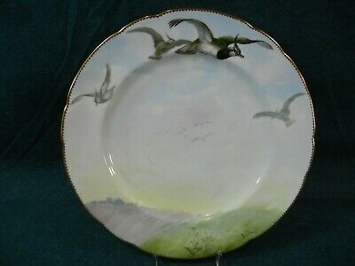 Minton H1893 Hand Painted Lapwing Bird Game Cabinet Plate by A H Wright