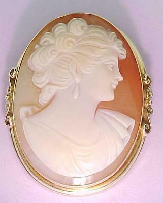 Cameo Pin Pendant Italian 14k Solid Gold Large Genuine Carved