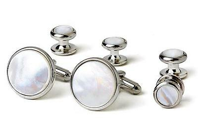 Radius Edge Mother of Pearl Cufflinks and Studs Silver