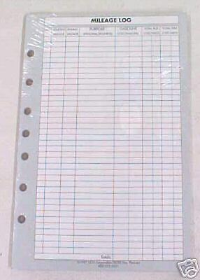 NEW 25-PAGE MILEAGE LOG REFILL FOR ORGANIZERS 5.5 X 8.5