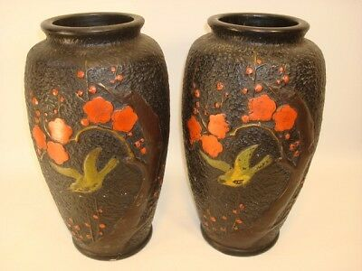 Antique Handpainted Japanese Vases Blossoms And Birds