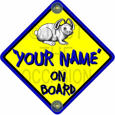 NEW   Yellow & Blue RABBIT BUNNIES  Personalised Baby on Board Car Window Sign