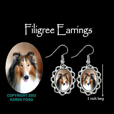 COLLIE DOG - SILVER FILIGREE EARRINGS Jewelry