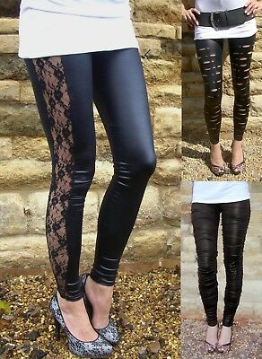 New WET LOOK  FASHION STYLE  LEGGINGS BLACK  ALL SIZES