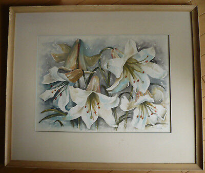 HAROLD M. YOUNG, Vintage Floral Watercolor, Fine Art CALIFORNIA IMPRESSIONIST WC