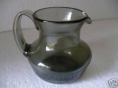 CHARCOAL GLASS HAND BLOWN PITCHER w/ APPLIED HANDLE