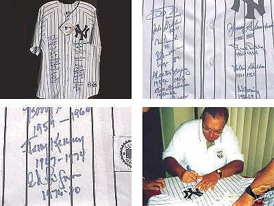 Yankee Legends Autographed Jersey (18 Signatures) W/ Inscriptions!