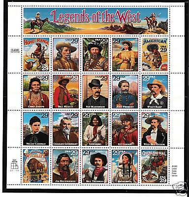 #2869 1994 Legends Of The West Sheet Of 20
