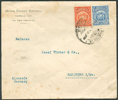 BOLIVIA TO GERMANY Cover w/Seal 1926 VF