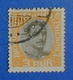 1920 ICELAND 3A OFFICIAL STAMP SCOTT#O40 MICHEL#33 USED