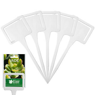 50 x White Plastic Plant T Labels with Seed Packet Holder