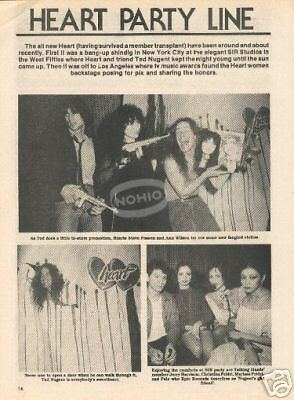 vintage HEART & TED NUGENT MAGAZINE PHOTO 80's 1980