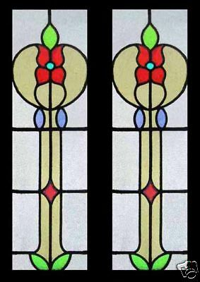 Pretty Floral Art Nouveau English Antique Stained Glass Windows Sidelights