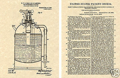 1st US PATENT for a FIRE EXTINGUISHER Print READY TO FRAME!!!!! 1909 vintage