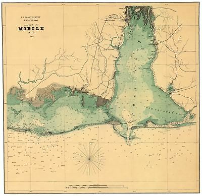 24x36 Vintage Reproduction Civil War Map Approaches Mobile Alabama 1864