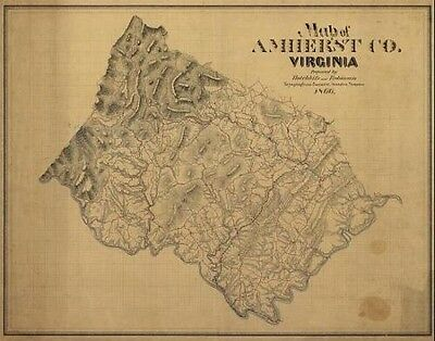 24x36 Vintage Reproduction Civil War Map of Amherst Co. Virginia 1866