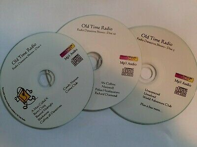 Huge Crime Detective Mystery Old Time Radio shows  OTR -  on 3 Mp3 CDs